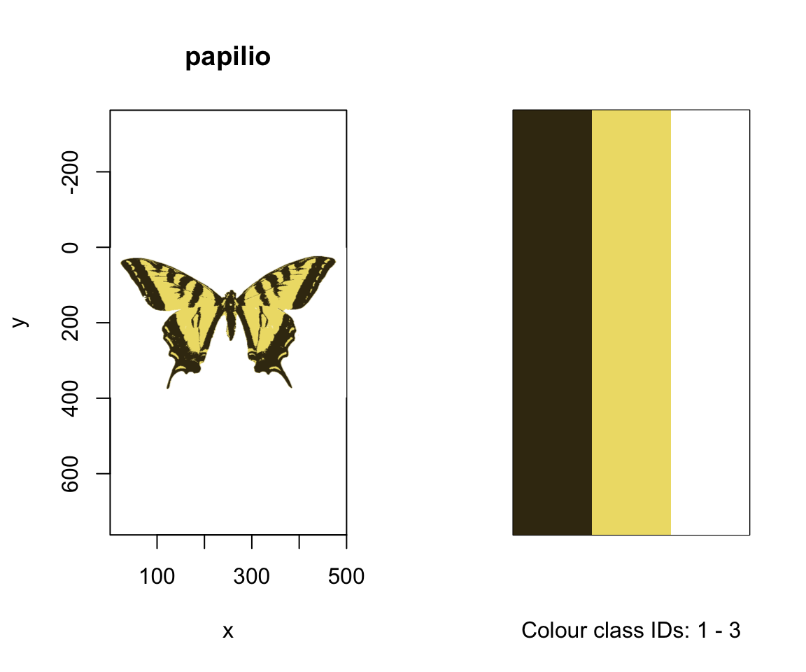 The k-means classified images of our butterflies, along with their identified colour palettes